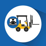 Delivery call centre operator online forklift truck Stock Photo