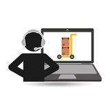 Delivery call centre operator online hand truck package Royalty Free Stock Photography