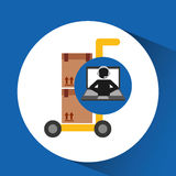 Delivery call centre operator online hand truck package Royalty Free Stock Photos
