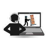 Delivery call centre operator online man puching boxes Stock Images