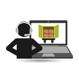 Delivery call centre operator online truck delivery. Vector illustration eps 10 Royalty Free Stock Photo