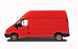 Delivery car. Red delivery van isolated on white Stock Photography