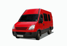 Delivery car. Red delivery van isolated on white Stock Photo