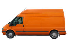 Delivery car. Orange delivery car isolated on white Royalty Free Stock Photos