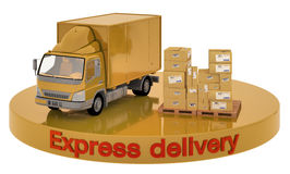 Delivery car and boxes. 3d illustration of car and boxes on the site that says Express Delivery Stock Photo