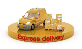 Delivery car and boxes. 3d illustration of car and boxes on the site that says Express Delivery Stock Photography