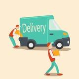 Delivery car cartoon vector illustration Stock Photos