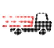 Delivery Car Chassi Halftone Dotted Icon with Fast Rush Effect vector illustration