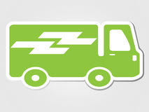 delivery car clipped sticker Isolated illustration transport icon Stock Image