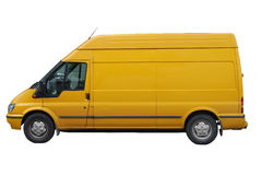 Delivery car isolated on white. Yellow  delivery van isolated on white Royalty Free Stock Photo