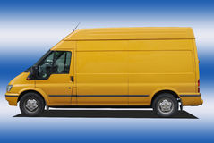 Delivery car isolated on white. Yellow  delivery van isolated on blue-white Stock Photography