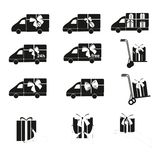 Delivery car and Present, shopping vector icons set. Royalty Free Stock Photos