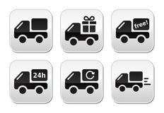 Delivery car, shipping  buttons set. Lorry, van delivery, courier grey square buttons isolated on white Royalty Free Stock Photos
