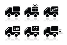 Delivery car, shipping  icons set. Lorry, van delivery, courier black icons set with reflection isolated on white Royalty Free Stock Image