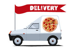 Delivery car. Vector illustration of delivery car with banner. Side view. Solid fill only.  Can be used for advertisement, game or mobile apps icon Stock Photos