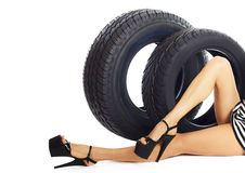 Delivery car wheels. Stock Photography