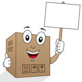 Delivery Cardboard Box Holding Sign Stock Photos