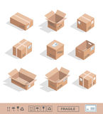 Delivery cardboard collection icons Opened, closed Royalty Free Stock Images