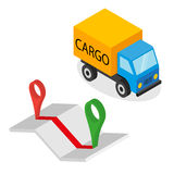 Delivery cargo and map with pins Stock Photo