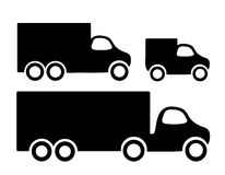 Delivery cars. Set of 3 delivery trucks Royalty Free Stock Photo