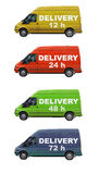 Delivery cars isolated on white. Several delivery cars isolated on white with time of delivery Royalty Free Stock Photos