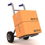 Delivery cart. Courier delivery cart loaded with two boxes, courier, shipping and cargo concept Royalty Free Stock Image