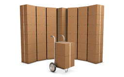 Delivery cart and group of card boxes Royalty Free Stock Image