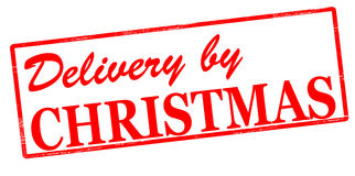Delivery by Christmas. Rubber stamp with text delivery by Christmas inside,  illustration Royalty Free Stock Photo