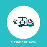 Delivery colored flat line icon, fast dry cleaning courier logo. Transportation flat sign, illustration for shipping business stock illustration
