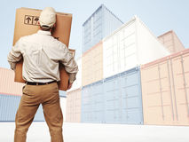 Delivery and colorful container Royalty Free Stock Photo