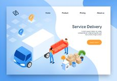 House Moving Company Isometric Vector Website. Delivery Company Online Service Isometric Vector Web Banner, Landing Page with Workers in Uniform Loading or vector illustration