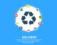 Delivery concept. Abstract background with connected gears and icons for logistic, service, strategy, shipping. Distribution, transport, market, communicate Royalty Free Stock Photography