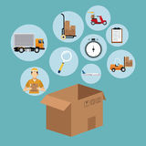 Delivery concept cardboard box collection icons Royalty Free Stock Photos