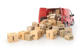 Cardboard boxes drop out from the transport isolated on a white background. 3d illustration. Delivery concept. Cardboard boxes drop out from the transport stock photography