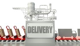Delivery concept, cardboard boxes and trucks Royalty Free Stock Photo