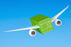 Delivery concept. Cargo container with wings flying in the sky, Stock Photo