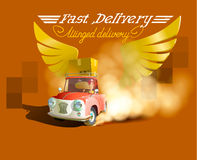 Delivery Concept. Cartoon 3d  isometric illustration. Isometric car. Delivery car. Gold wings Stock Photography