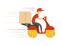 Delivery concept design. Boy ride scooter motorcycle with box. Vector Stock Photo
