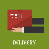 Delivery concept design with hands and box Royalty Free Stock Photos