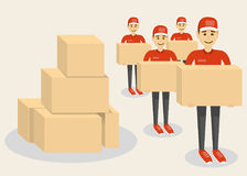 Delivery concept. Funny character man isolated on white with boxes. Royalty Free Stock Image