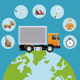 Delivery concept globe truck transport icons Stock Images