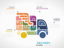 Delivery. Concept infographic template with truck made out of puzzle pieces Stock Photos