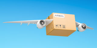 Delivery concept. Parcel with wings flying in the sky, 3D render. Delivery concept. Parcel with wings flying in the sky, 3D Stock Photos