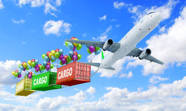 Delivery concept plane pulls container Stock Images