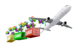 Delivery concept plane pulls container. On balloons on a white background 3d illustrations Royalty Free Stock Photos