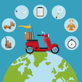 Delivery concept red motorcycle globe set icons Royalty Free Stock Photography