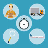 Delivery concept transport clock man plane Stock Photo