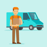 Delivery concept - truck and friendly man Royalty Free Stock Images