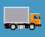 Delivery concept truck transport blue background stock illustration