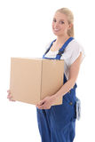 Delivery concept - woman in workwear with cardboard box isolated Stock Photos